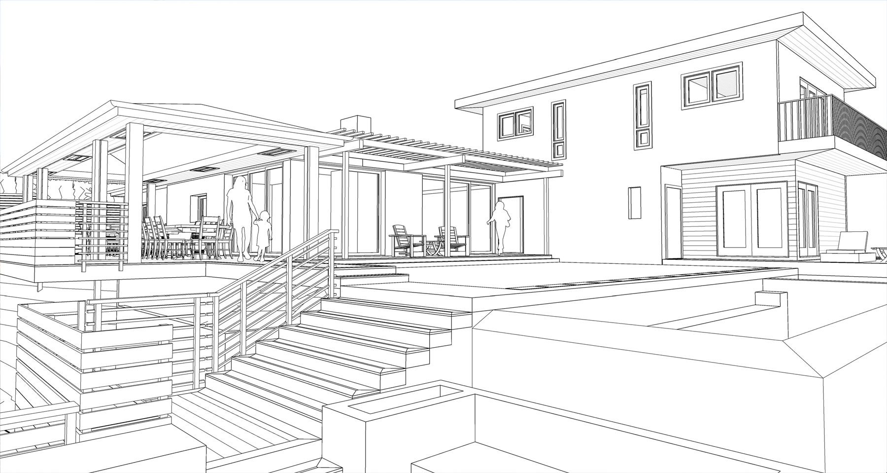Initial Design Plans of back yard renovation in Pacific Palisades