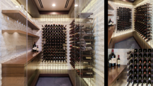 Composite image of wine room with Wenge wood