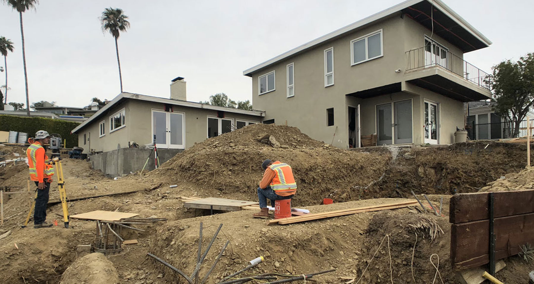 Under Construction of back yard renovation in Pacific Palisades