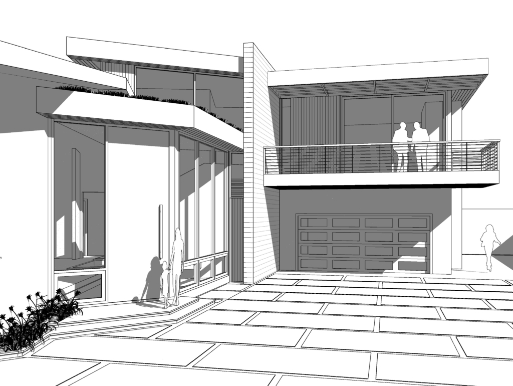 Architect's rendering of Benedict Canyon Home -East View