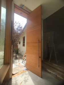 Interior view of pivoting front door