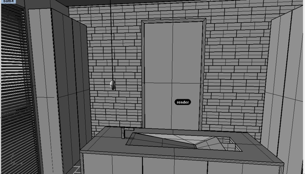 Bathroom Rendering with center island for sink in master