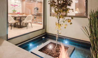 Fire, Water, Tree feature in modern-style home on Sunset Blvd