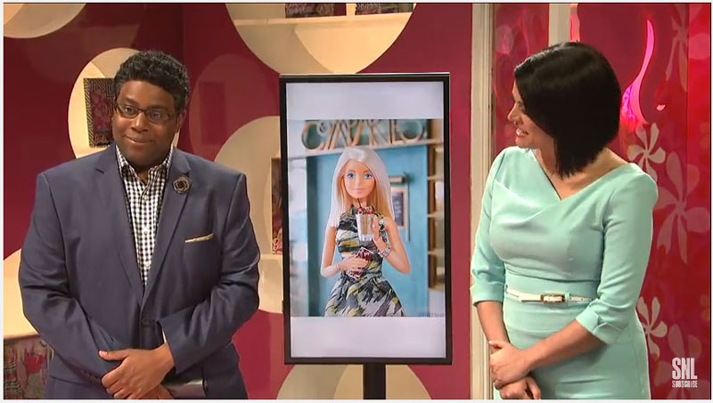SNL Skit parodies Barbie out from of Compartes
