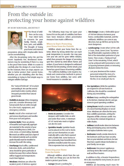 Protecting Your Home from Wildfires, Living Brentwood, August 2020